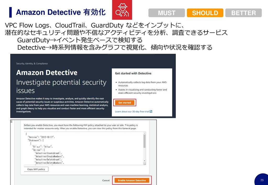 29 Amazon Detective 有効化 VPC Flow Logs、CloudTrai...
