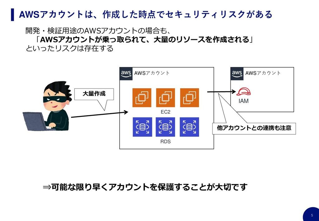 5 AWSアカウントは、作成した時点でセキュリティリスクがある 開発・検証用途のAWSアカウン...