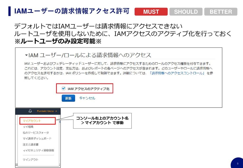 9 IAMユーザーの請求情報アクセス許可 BETTER SHOULD MUST デフォルトでは...