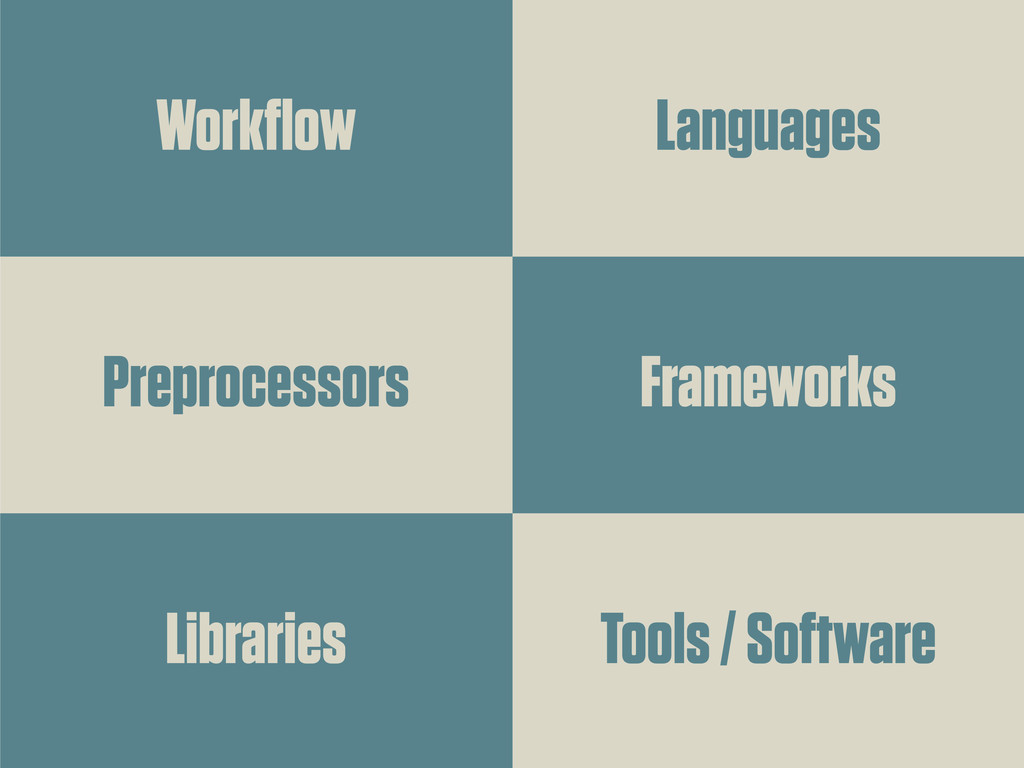 Workflow Preprocessors Libraries Languages Fram...