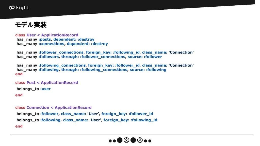 モデル実装 class User < ApplicationRecord has_many :...