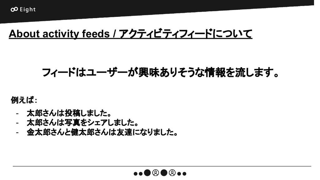 About activity feeds / アクティビティフィードについて フィードはユーザ...