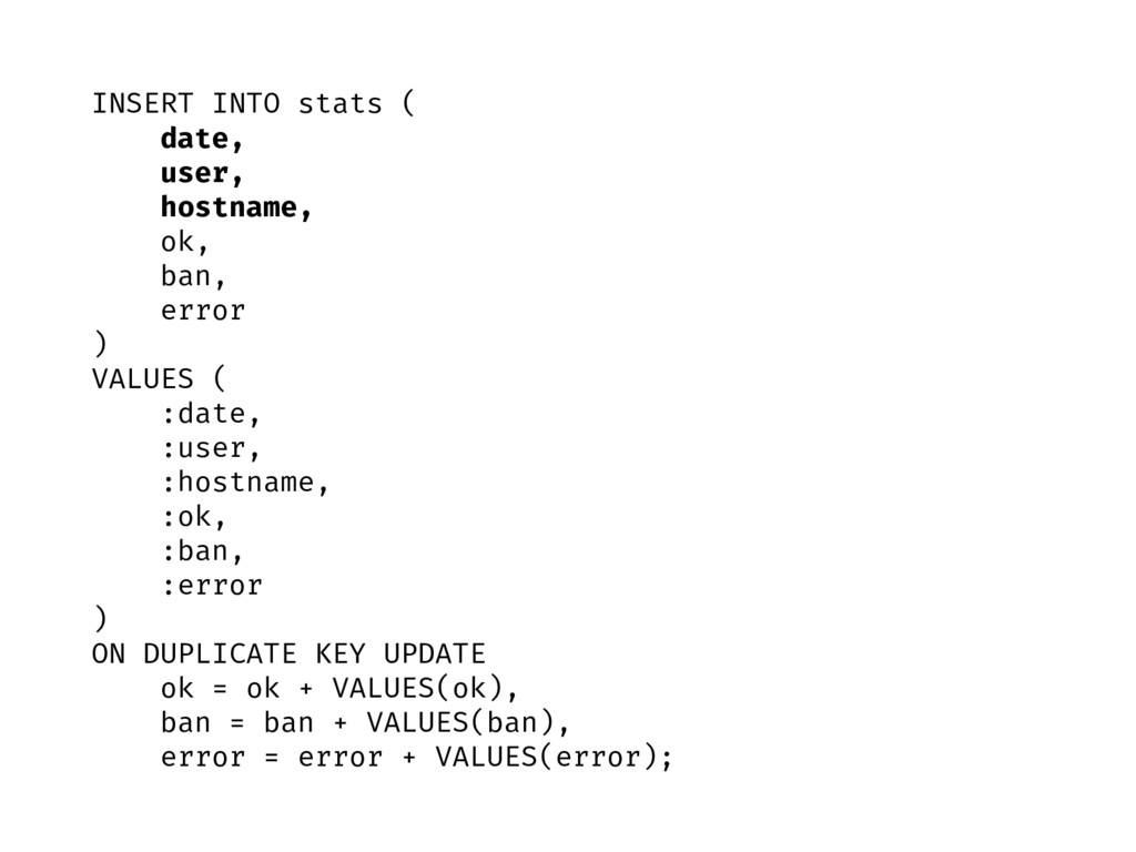 INSERT INTO stats ( date, user, hostname, ok, b...