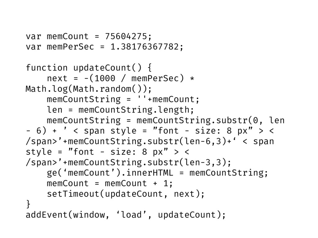 var memCount = 75604275; var memPerSec = 1.3817...