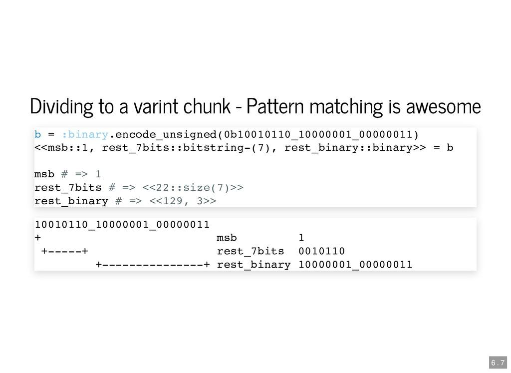 Dividing to a varint chunk - Pattern matching i...