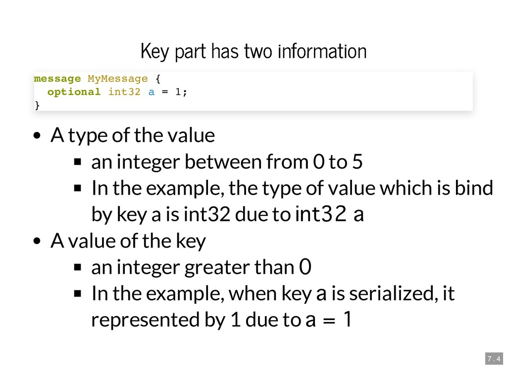 Key part has two information Key part has two i...