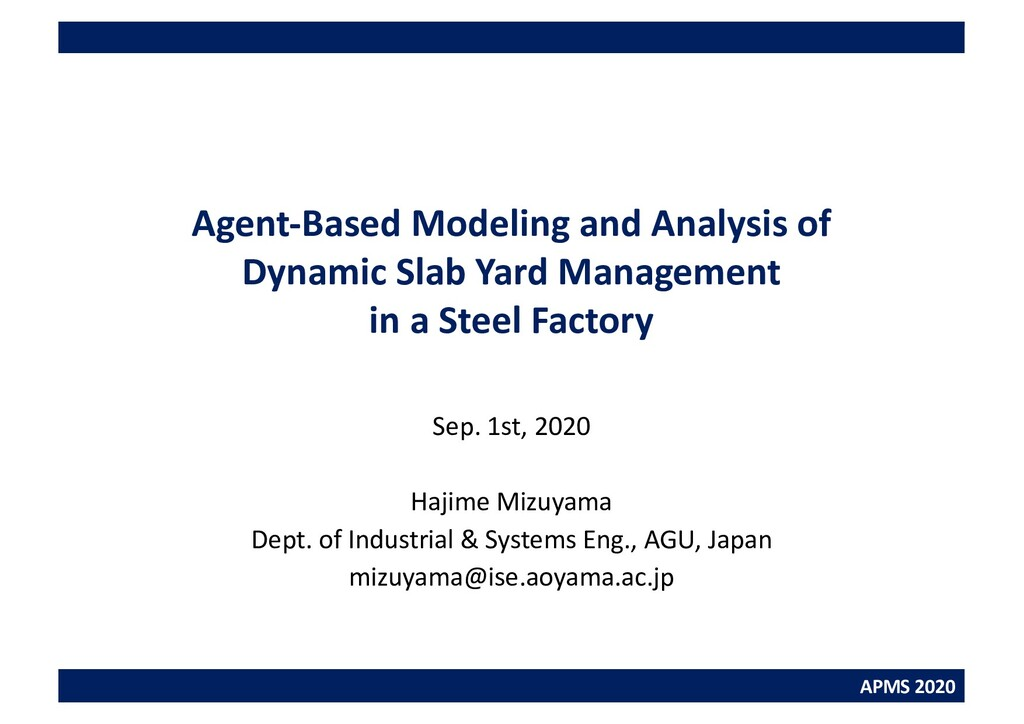 APMS 2020 Agent-Based Modeling and Analysis of ...