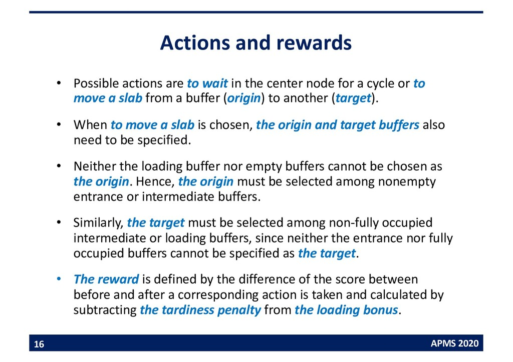 APMS 2020 Actions and rewards • Possible action...