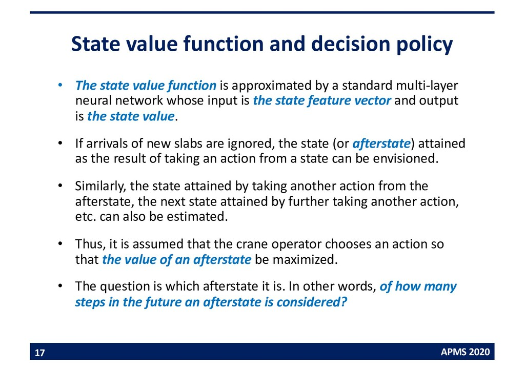 APMS 2020 State value function and decision pol...
