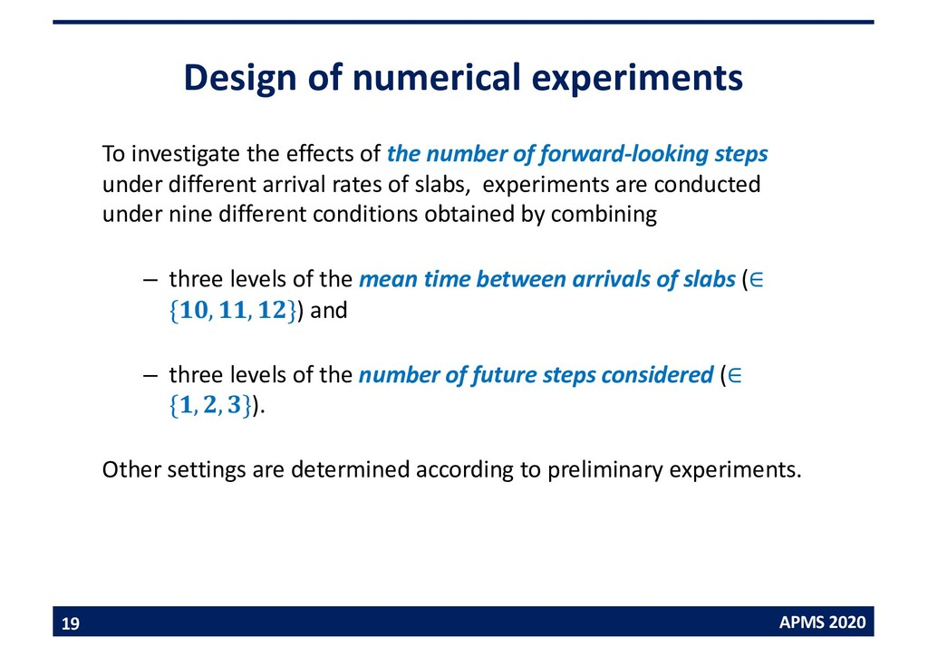 APMS 2020 Design of numerical experiments To in...
