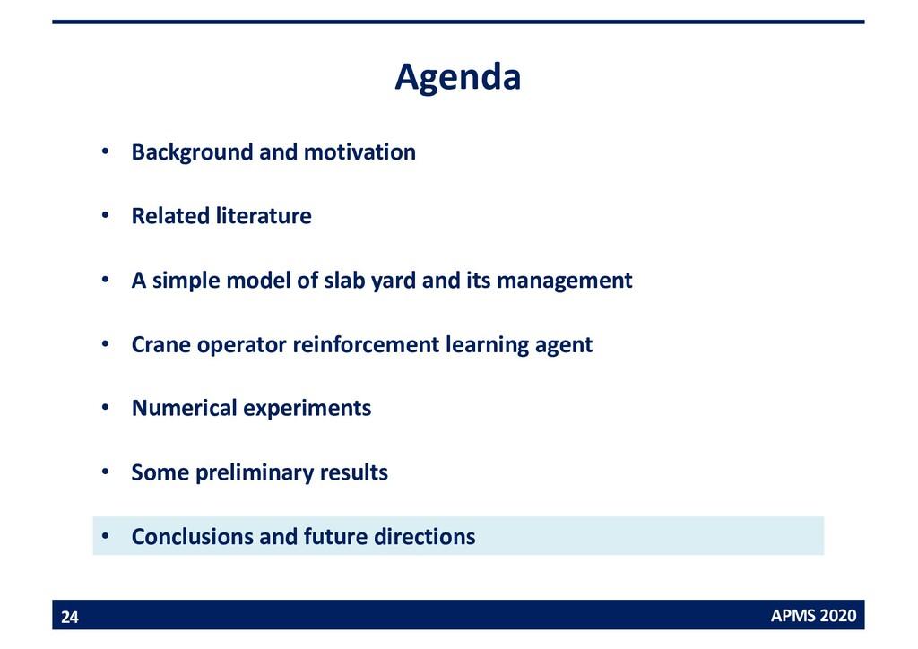 APMS 2020 Agenda • Background and motivation • ...