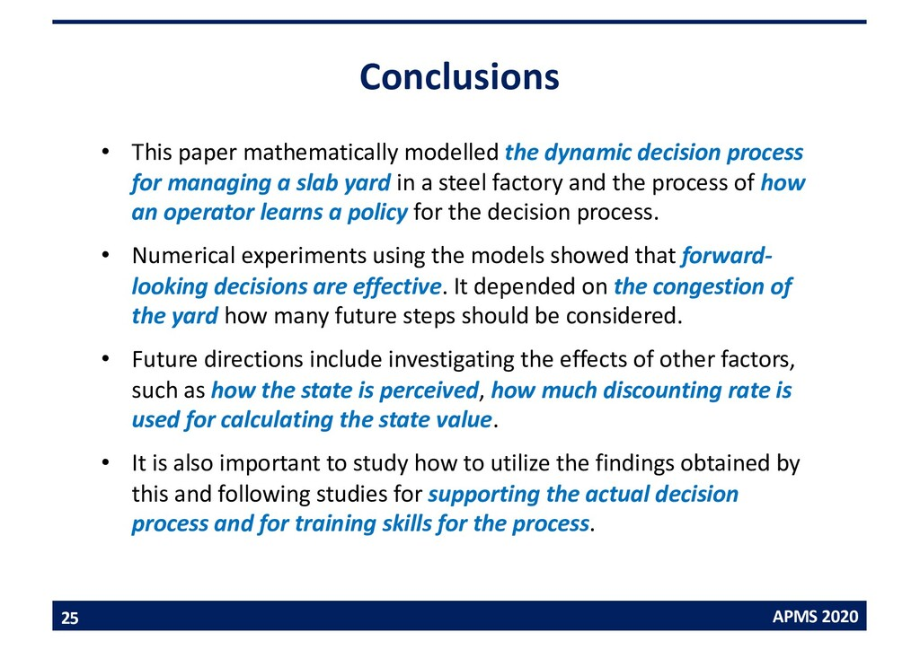 APMS 2020 Conclusions • This paper mathematical...