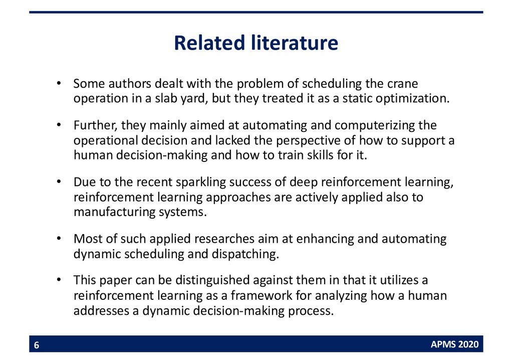 APMS 2020 Related literature • Some authors dea...