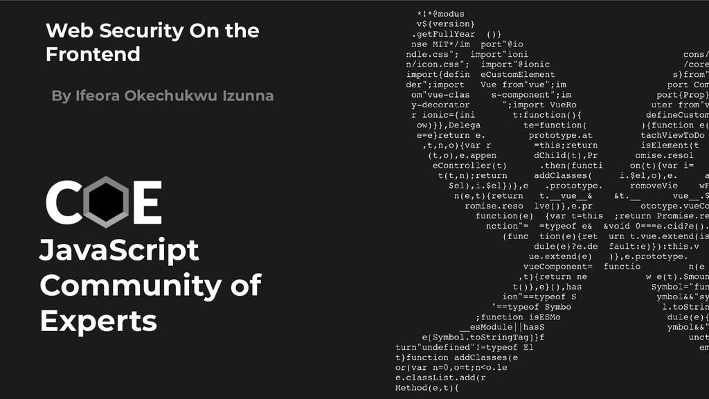 JavaScript Community of Experts Web Security On...