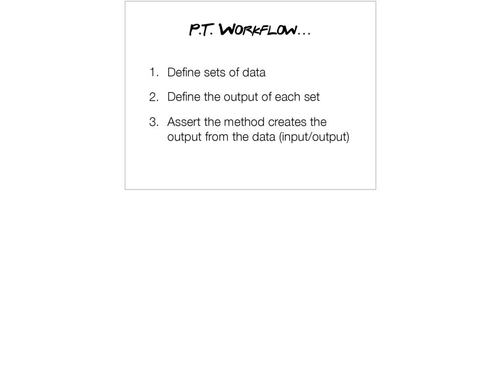 1. Define sets of data 2. Define the output of ea...