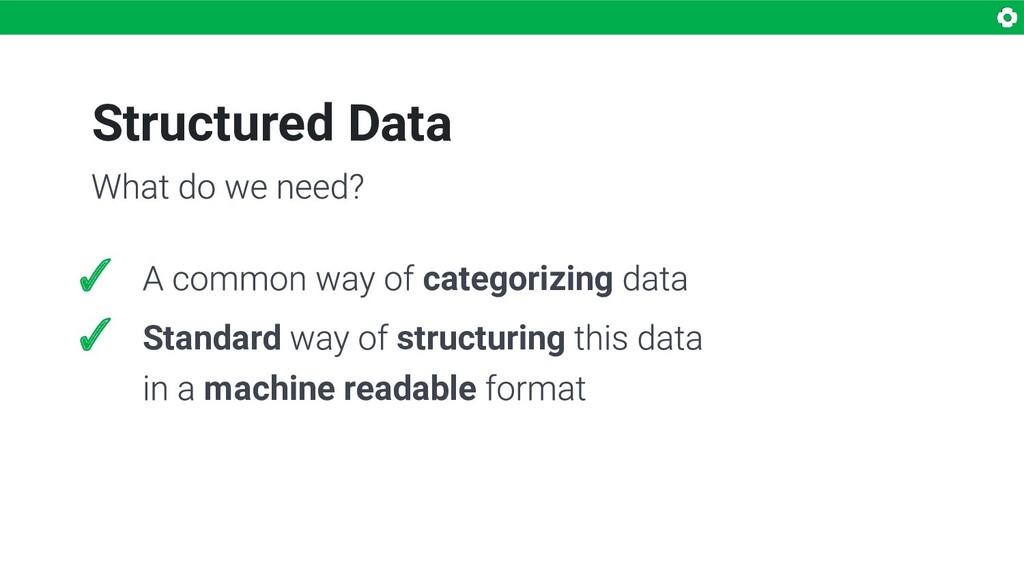 Structured Data ✓ categorizing ✓ Standard struc...