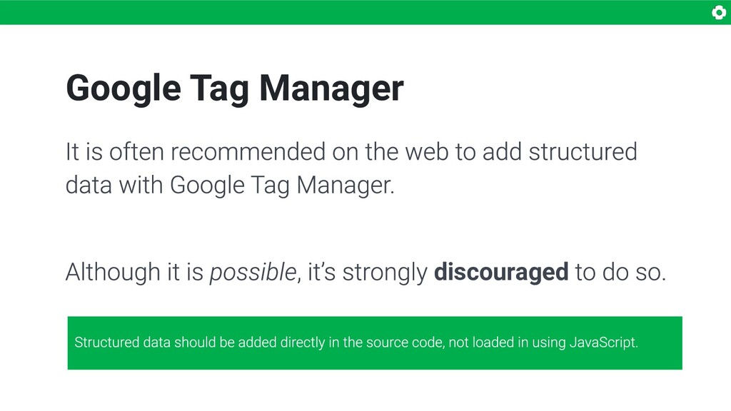 Google Tag Manager discouraged