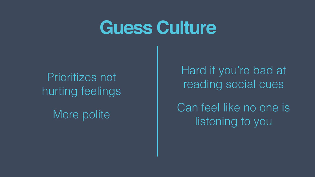 Guess Culture Prioritizes not  hurting feeling...
