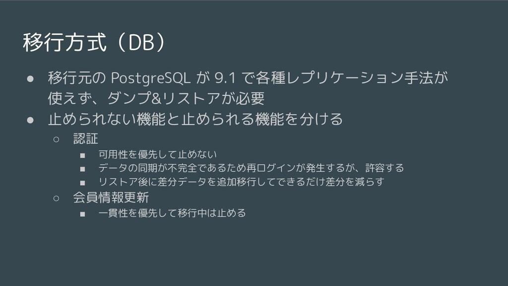移行方式(DB) ● 移行元の PostgreSQL が 9.1 で各種レプリケーション手法が...