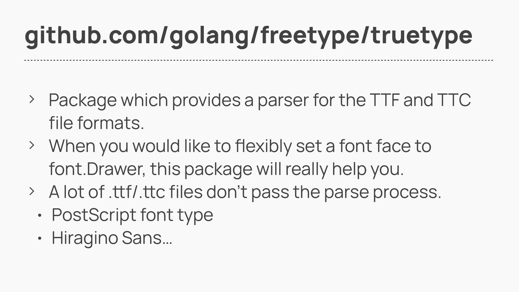 github.com/golang/freetype/truetype > Package w...