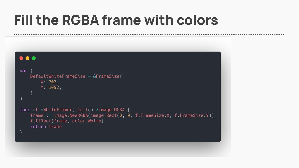Fill the RGBA frame with colors
