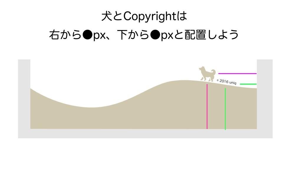 犬とCopyrightは 右から●px、下から●pxと配置しよう