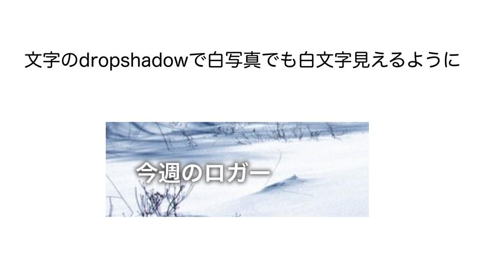 文字のdropshadowで白写真でも白文字見えるように