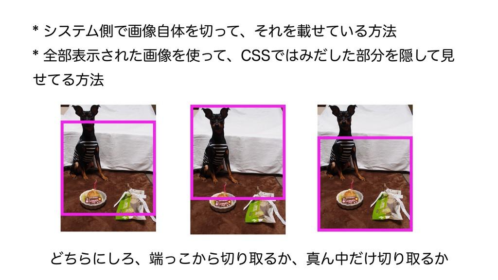 * システム側で画像自体を切って、それを載せている方法 * 全部表示された画像を使って、CSS...