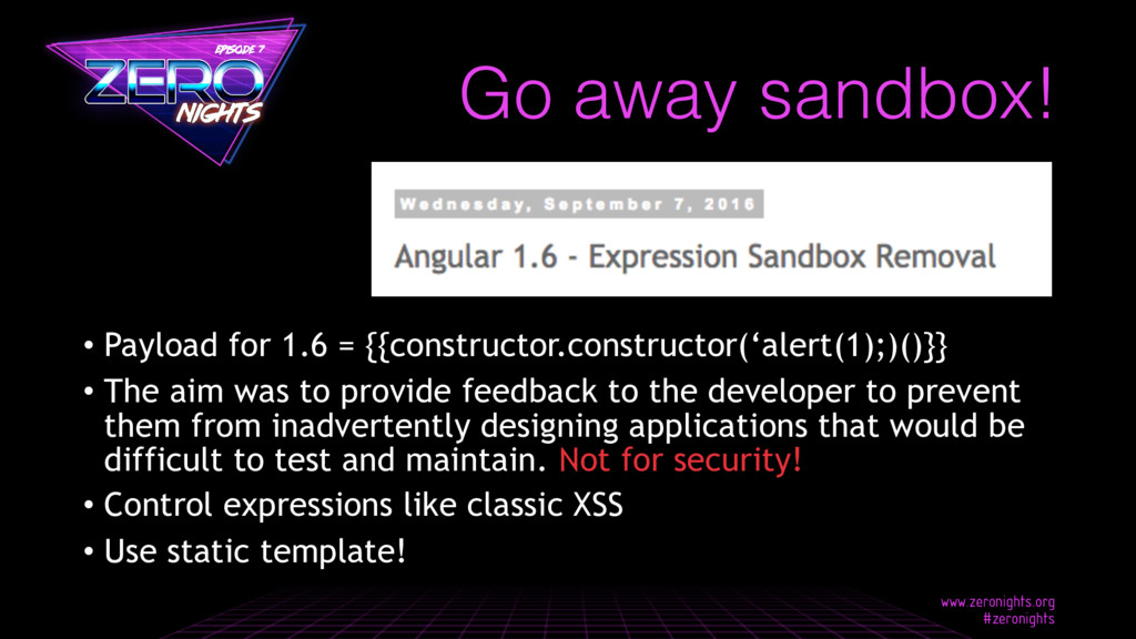 Go away sandbox! • Payload for 1.6 = {{construc...