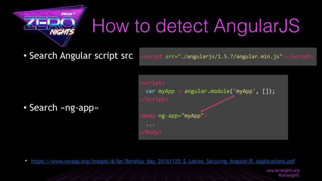 • Search Angular script src • Search «ng-app» H...