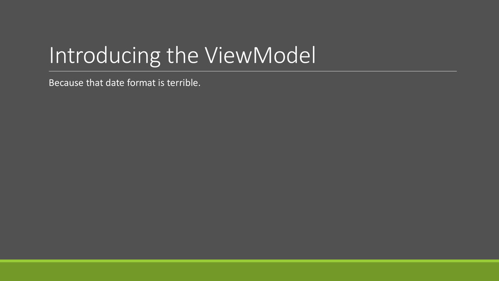 Introducing the ViewModel Because that date for...