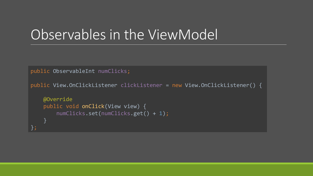 Observables in the ViewModel public ObservableI...