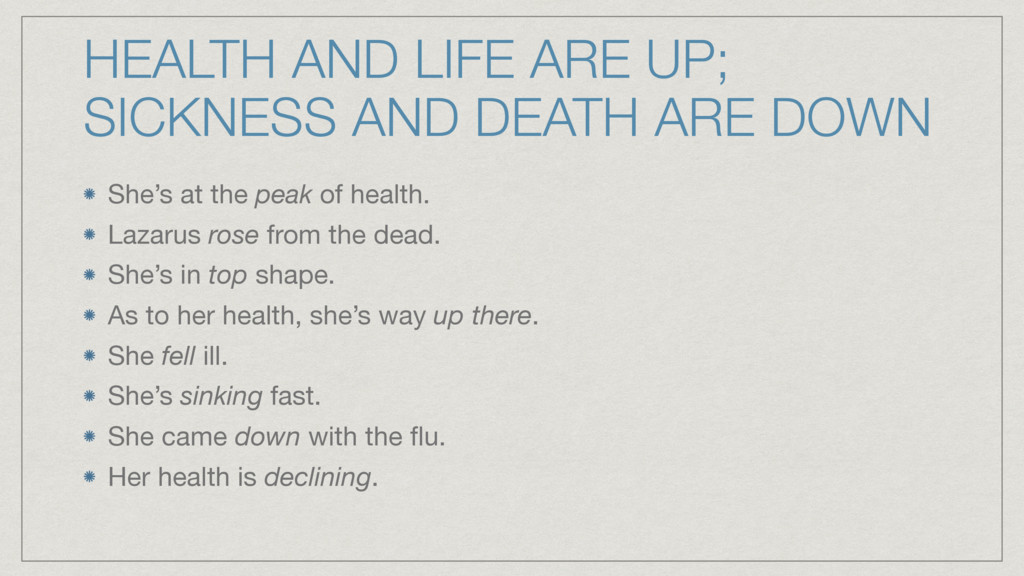 HEALTH AND LIFE ARE UP; SICKNESS AND DEATH ARE ...