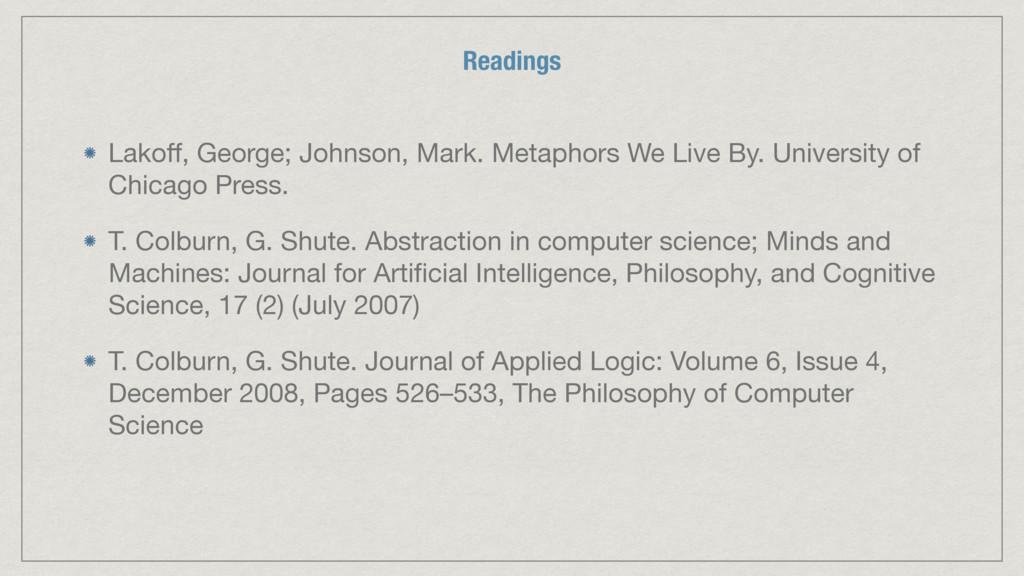 Lakoff, George; Johnson, Mark. Metaphors We Live...