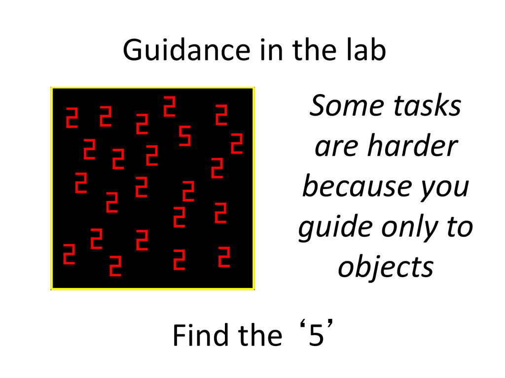 Guidance in the lab Find the '5' Some tasks are...