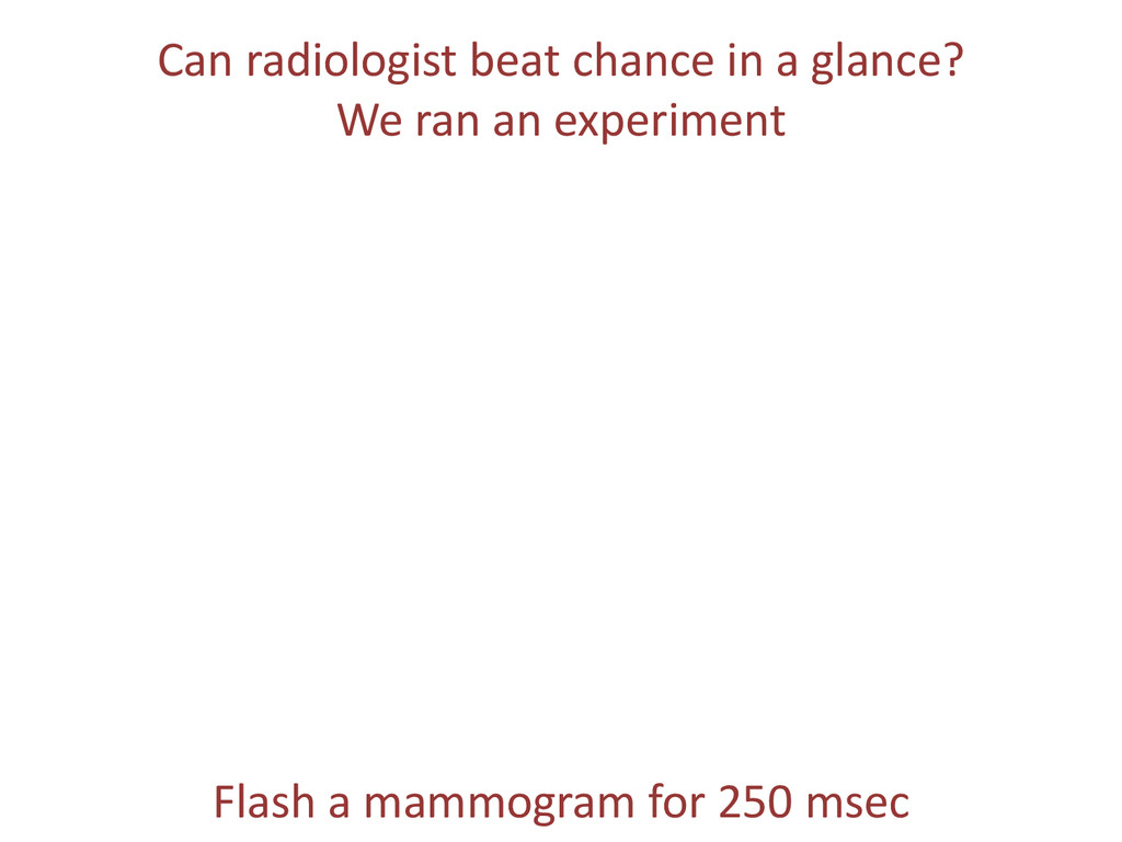 Can radiologist beat chance in a glance? We ran...