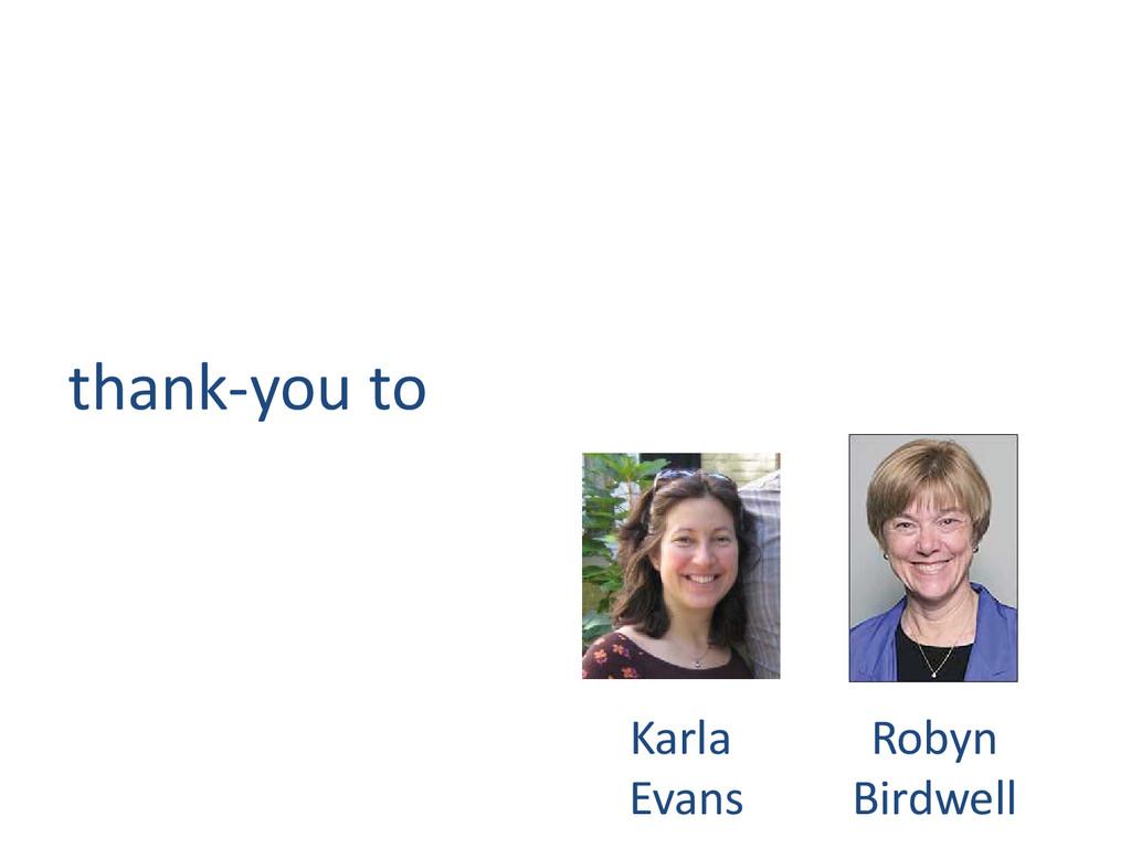 thank-you to Karla Evans Robyn Birdwell