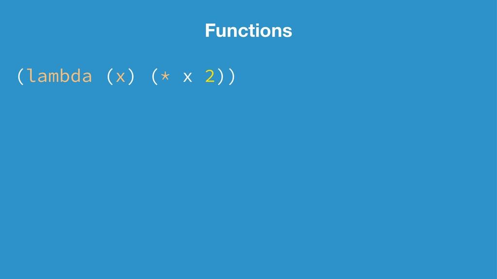 Functions (lambda (x) (* x 2))