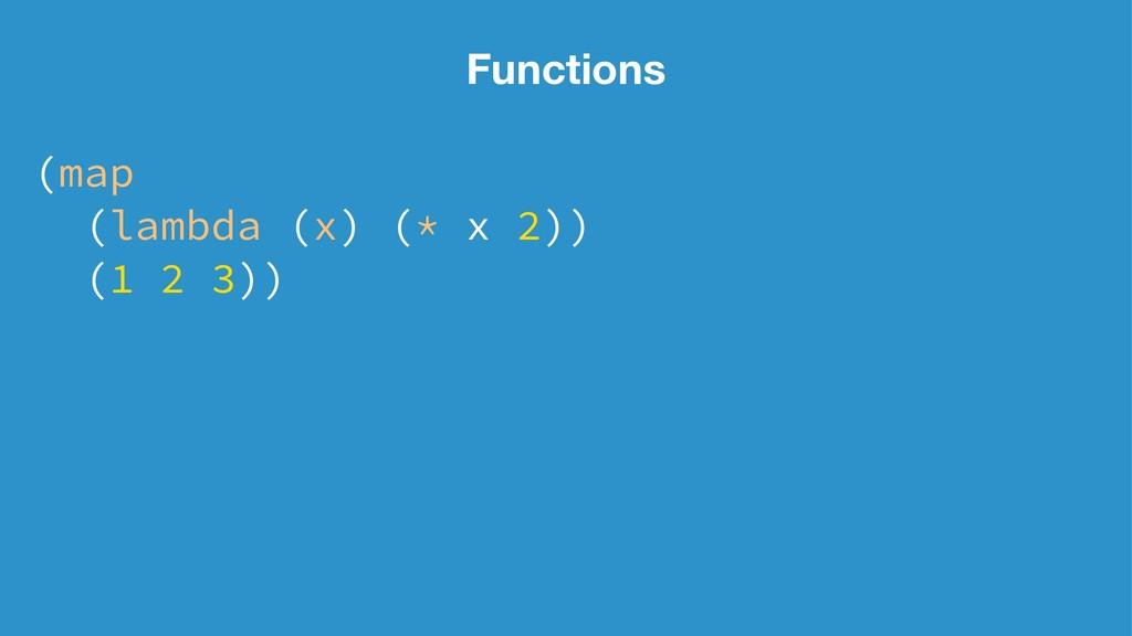 Functions (map (lambda (x) (* x 2)) (1 2 3))