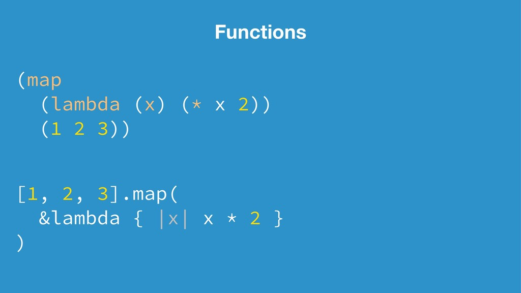 Functions (map (lambda (x) (* x 2)) (1 2 3)) [1...