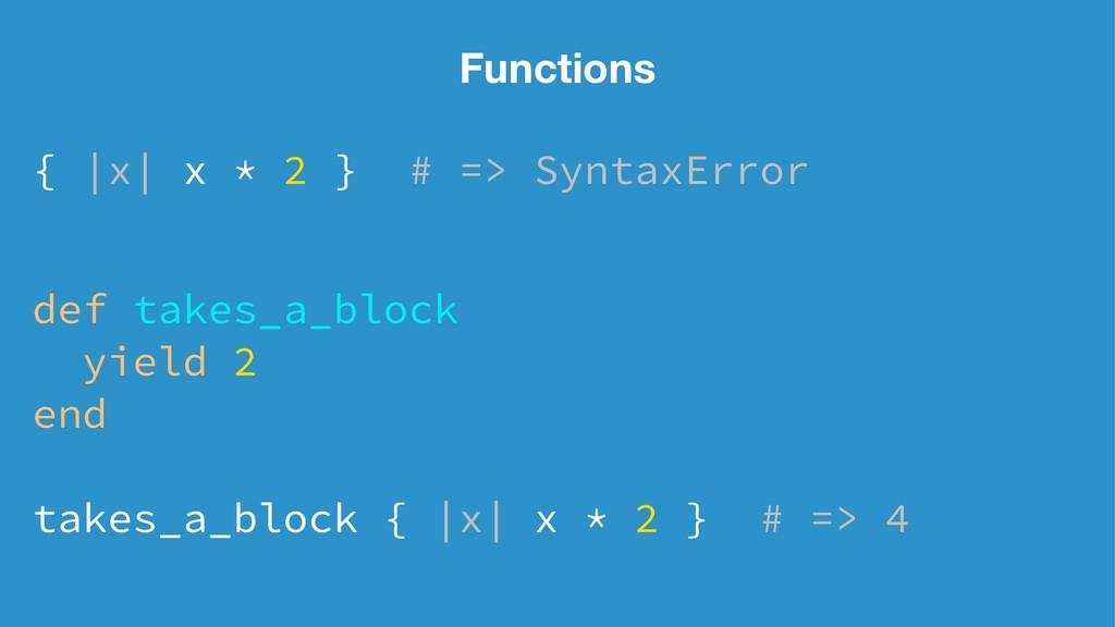 Functions { |x| x * 2 } # => SyntaxError def ta...