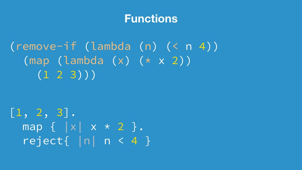 Functions (remove-if (lambda (n) (< n 4)) (map ...