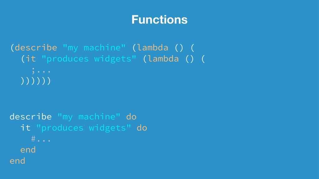 "Functions (describe ""my machine"" (lambda () ( (..."