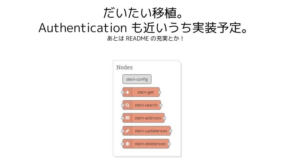 だいたい移植。 Authentication も近いうち実装予定。 あとは README の充...