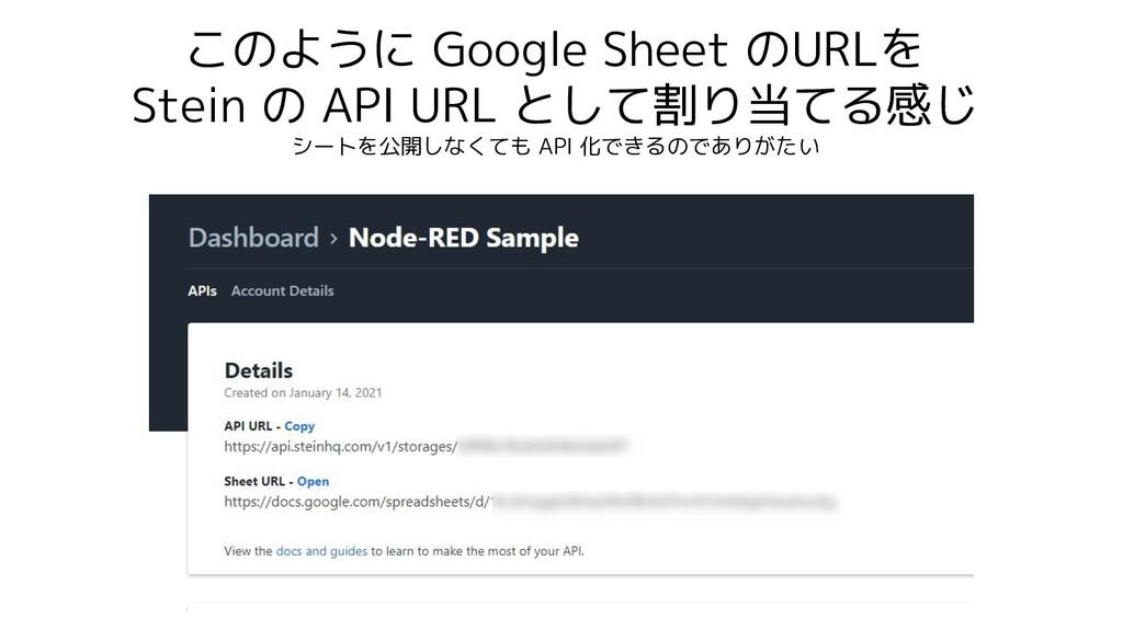 このように Google Sheet のURLを Stein の API URL として割り当...