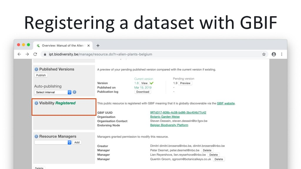 Registering a dataset with GBIF