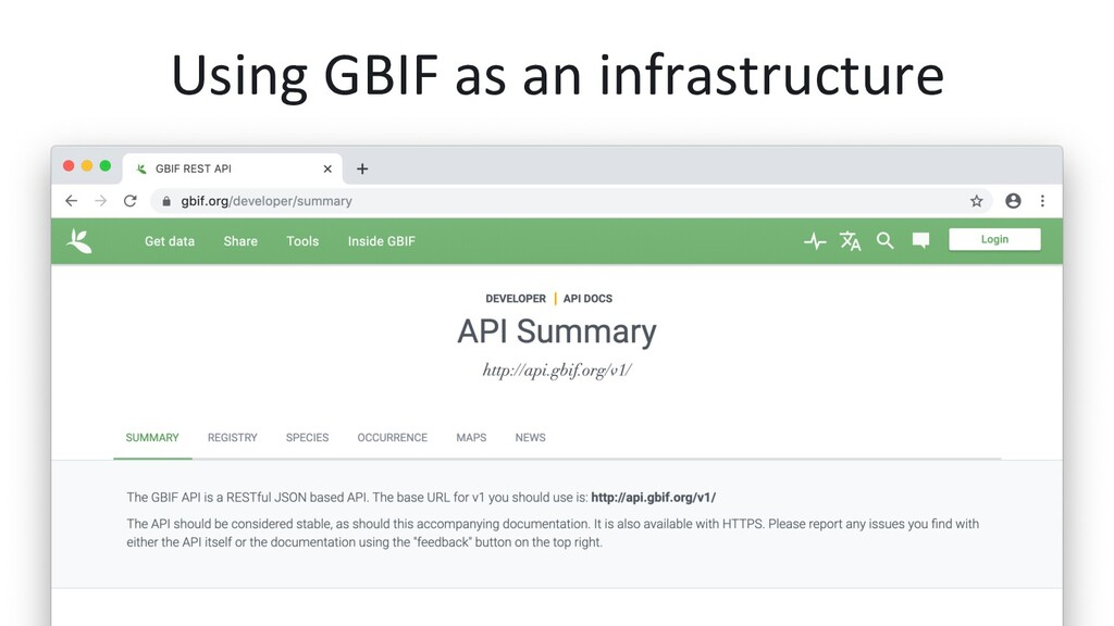 Using GBIF as an infrastructure