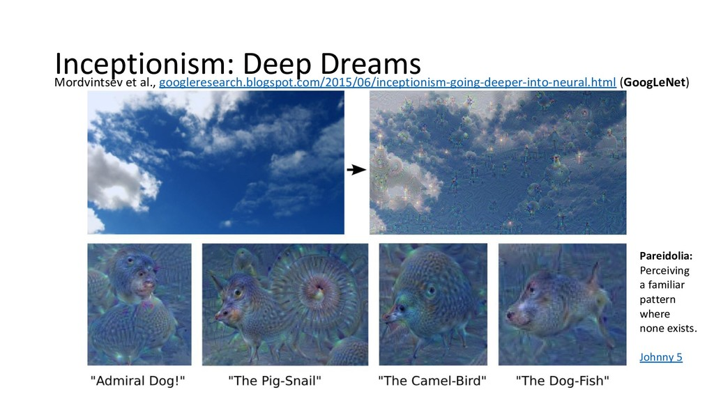 Inceptionism: Deep Dreams Mordvintsev et al., g...