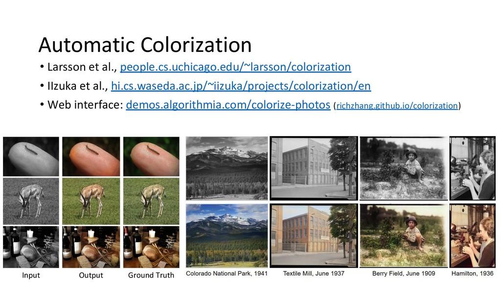 Automatic Colorization • Larsson et al., people...